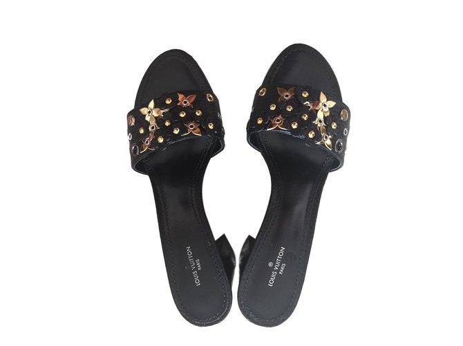 0bcfe0c7b Louis Vuitton sandals Sandals Leather Black ref.77054 - Joli Closet