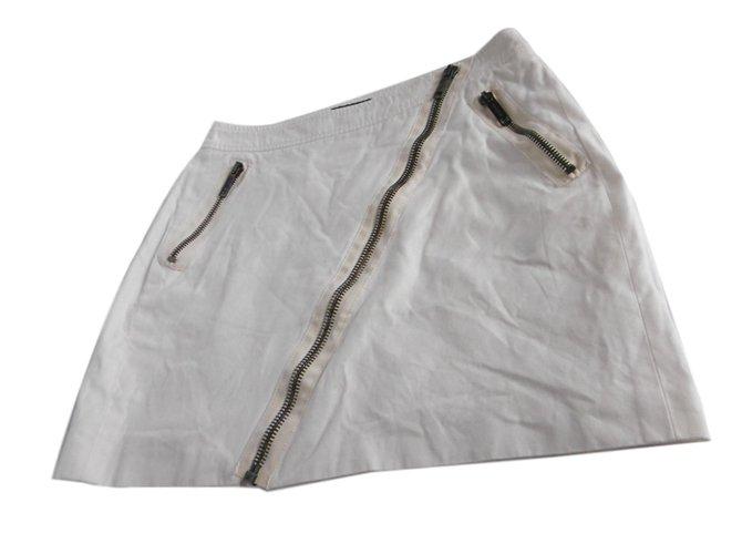 Burberry White Mini Skirt Skirts Cotton White ref.77062