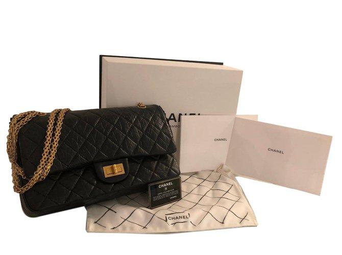 Chanel 2.55 Handbags Leather Black ref.77176