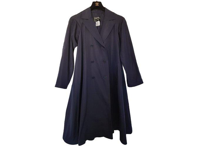 Manteaux Chanel Imperméable Soie Bleu Marine ref.77286