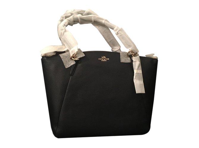 Coach Handbags Handbags Leather Navy blue ref.77318 - Joli Closet d52fb1c3b7402