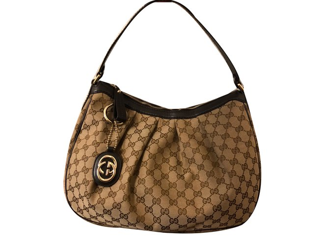 Gucci Handbags Cloth Beige Ref 77423