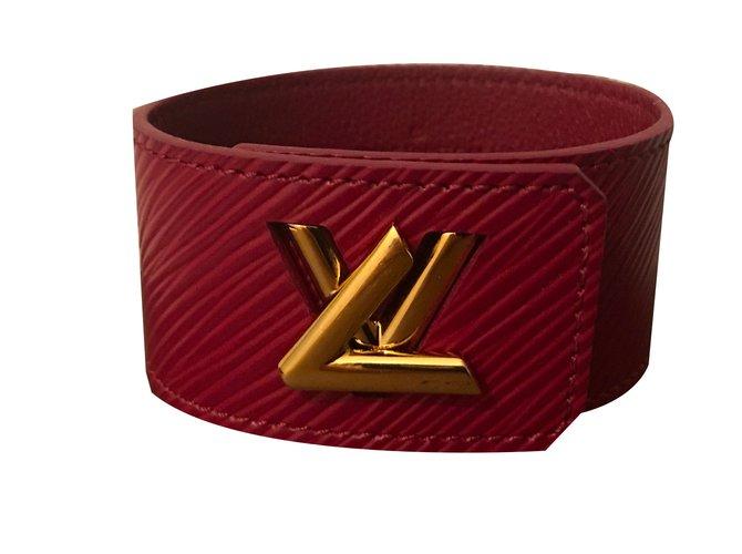 Bracelets Louis Vuitton Bracelets Cuir Bordeaux ref.77431