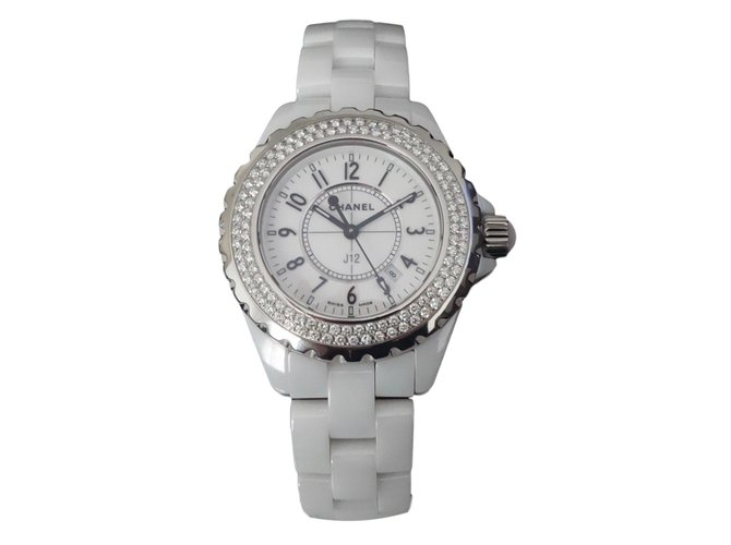 Montres Chanel MONTRE  J12 FULL DIAMANTS Céramique Blanc ref.77464