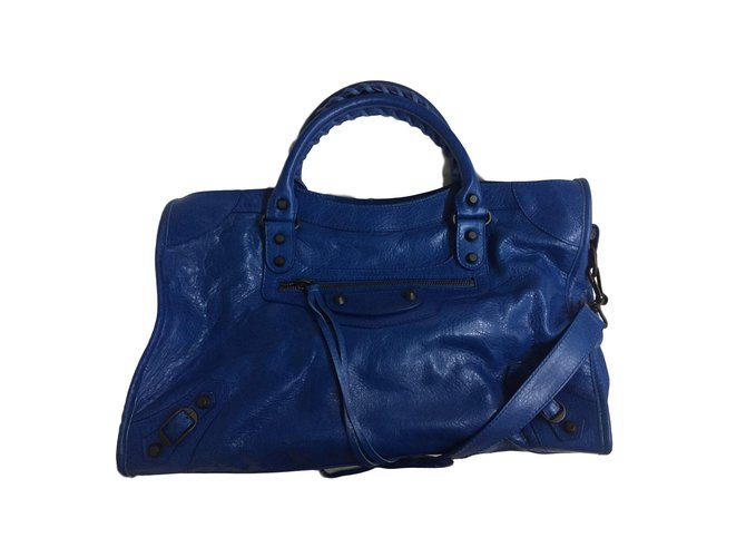 7a9837f09b7f Balenciaga Handbags Handbags Leather Blue ref.77473 - Joli Closet