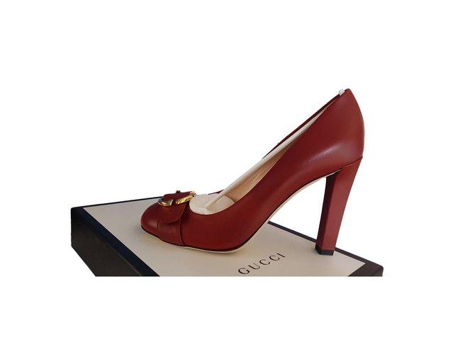 6f7036a0ec Gucci Pumps Heels Leather Red ref.77600 - Joli Closet