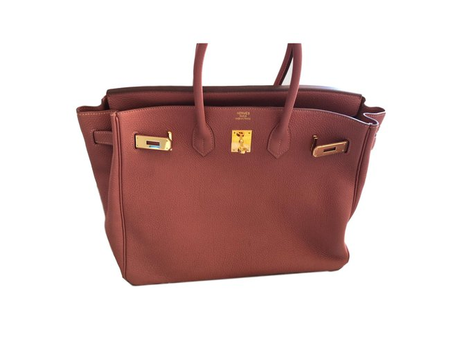 Hermès Birkin 35 Handbags Leather Peach ref.77622