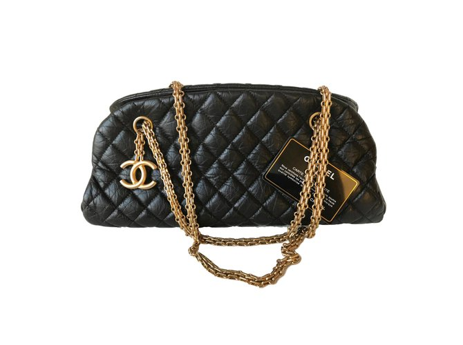 e0224b908696 Chanel Chain Mademoiselle Bowling Bag Handbags Leather Black ref.77671