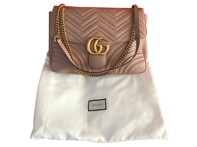 2f1bdab87e8 Gucci GG Marmont medium matelassé chevron shoulder bag in Beige Handbags  Leather Beige ref.77731