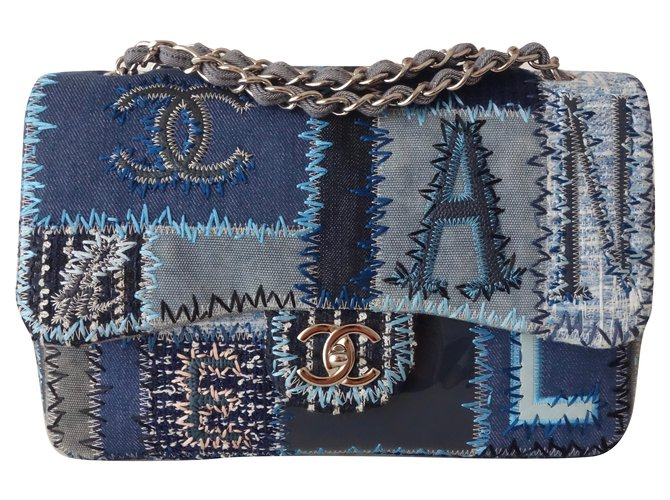 Chanel Patchwork Handbags Leather Blue Ref 77734 Joli Closet