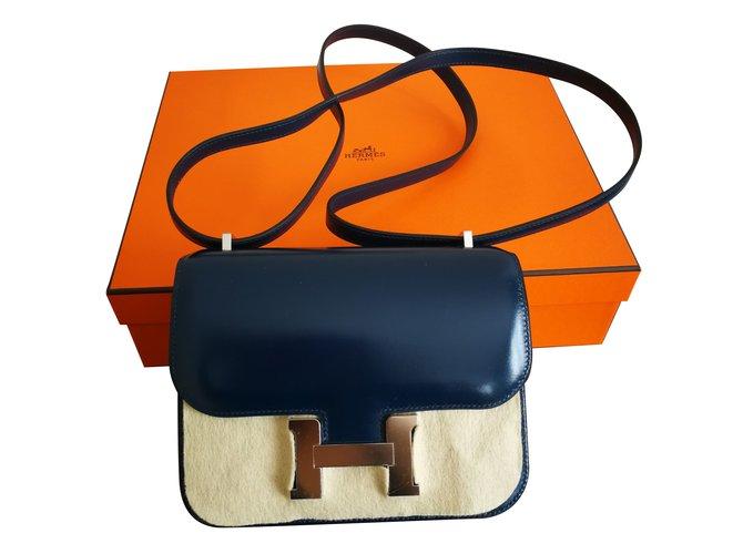 Hermès Constance Mini Handtaschen Leder Marineblau ref.77775