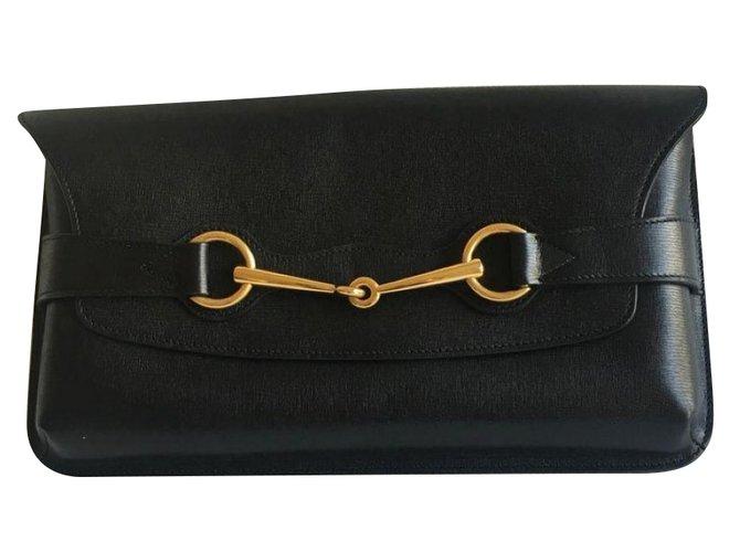 Pochettes Gucci Pochettes Cuir Noir ref.77777