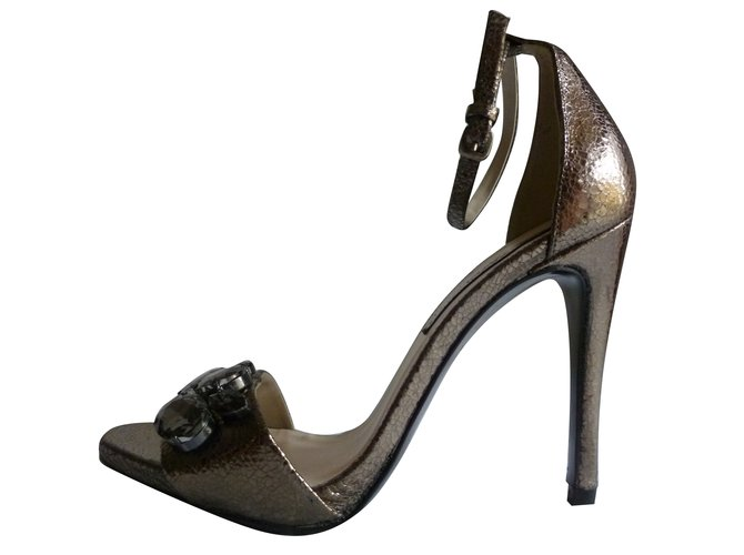 5af2dd9c5be Zara genuine leather heel sandals Heels Leather Bronze ref.77939 ...