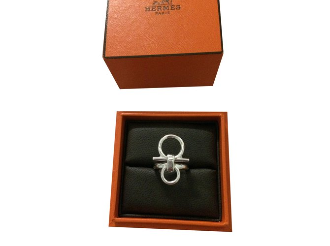 Bagues Hermès Bague Mors de Bride Argent Argenté ref.78022