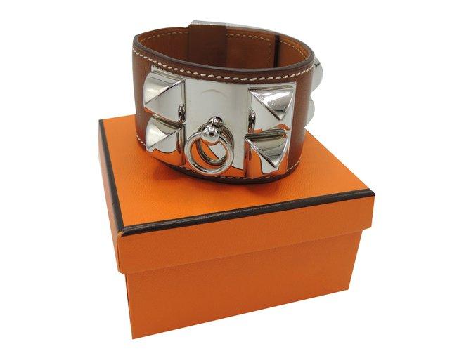 Bracelets Hermès BRACELET COLLIER DE CHIEN Cuir Caramel ref.78036