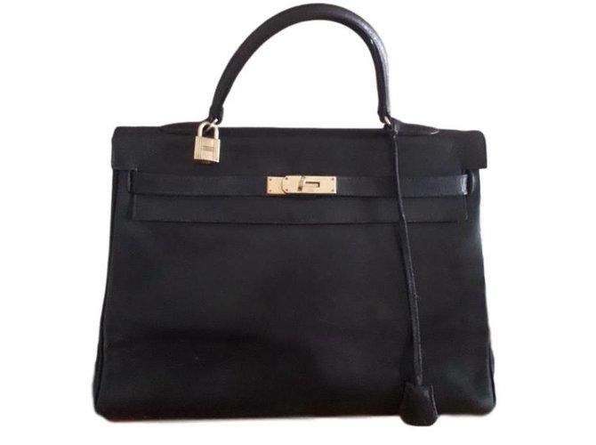 Hermès Kelly Handbags Leather Black ref.78168