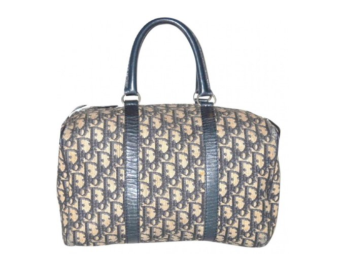 983be829d4 Sacs à main Christian Dior DIOR vintage sac polochon 30 Cuir,Toile Écru,Bleu