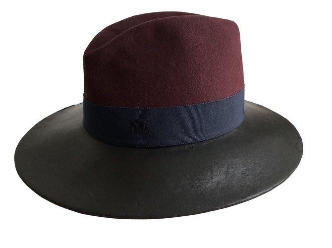 Maison Michel Hats Hats Leather Dark red ref.78458