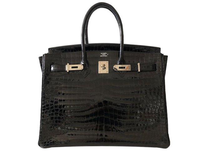 Hermès Birkin 35 Handtaschen Exotisches Leder Schwarz ref.78509