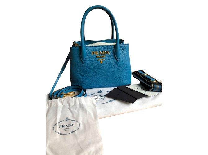 37b883e7a34 Prada mini cross body bag in blue leather Handbags Leather Blue ref.78599