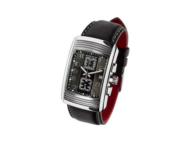 Montres à quartz Mauboussin Montre Homme Chronographe Energie Vitale - cadran rectangle  51 x 33 mm Cuir,Acier Noir,Argenté ref.78645