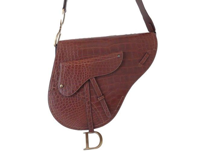 38becb834d7 Dior Vintage Saddle Handbags Exotic leather Brown ref.78869 - Joli ...
