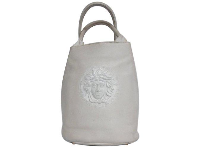 18324282e967 Gianni Versace Medusa Bucket Bag Handbags Leather White ref.78928 ...