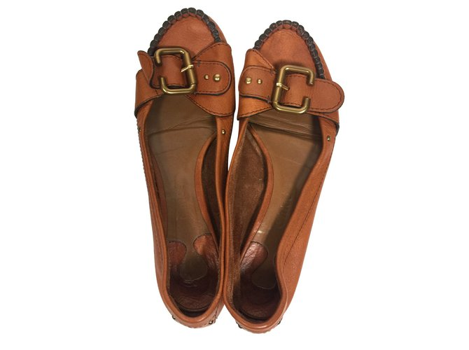 Chloé Flat loaffers Ballet flats Leather Cognac ref.79013