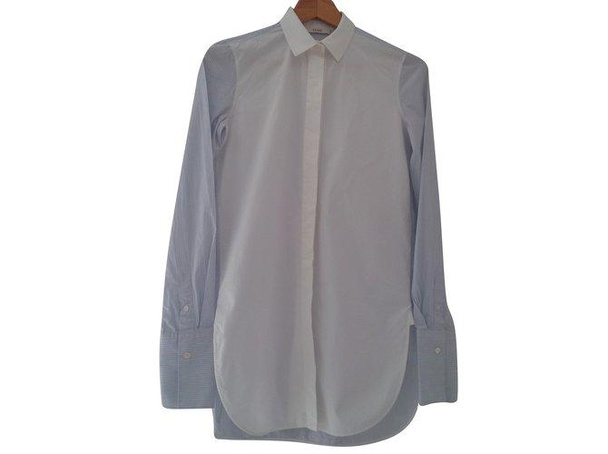 Céline Long shirt Tops Cotton White,Blue ref.79038