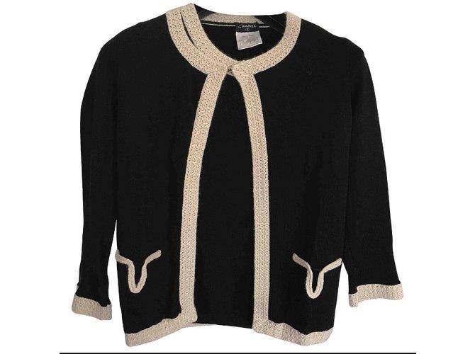 Pulls, Gilets Chanel Pulls, Gilets Cachemire,Laine Noir,Beige ref.79073 06a33d090bb