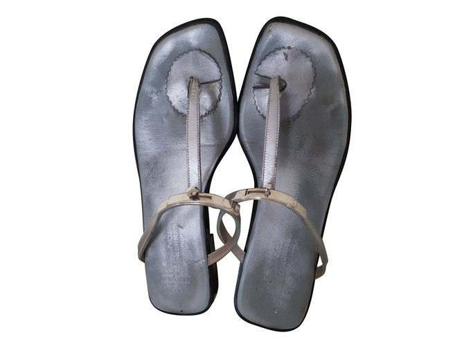 Hermès sandals Sandals Leather Silvery ref.79161