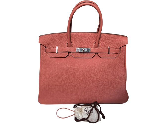 0a1d878d69ded Hermès Handbags Handbags Leather Pink ref.79165 - Joli Closet
