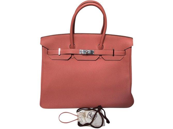 Sacs à main Hermès Birkin Cuir Rose ref.79165