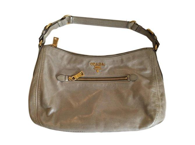 Prada Vintage Handbags Leather Cloth Grey Ref 79181