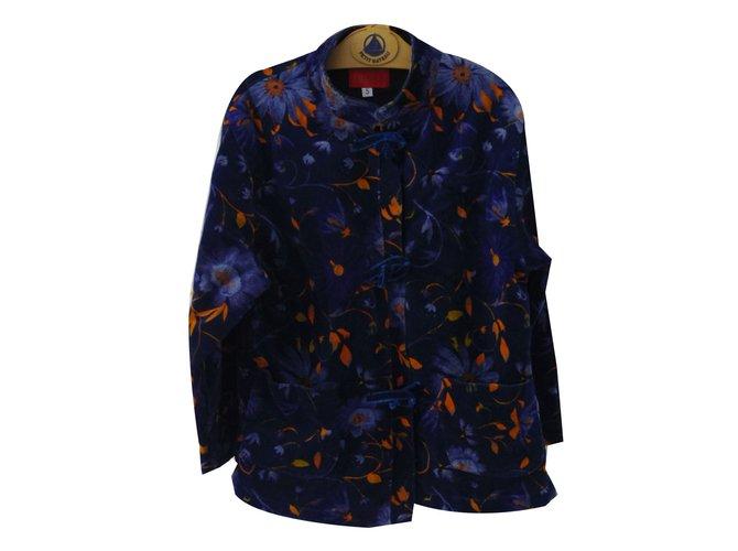 Kenzo KENZO JUNGLE Girl Coats outerwear Velvet Navy blue ref.79300