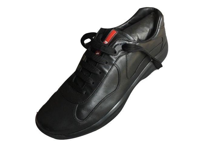 Prada sneakers Sneakers Leather Black ref.79319 - Joli Closet ec03e0da0598