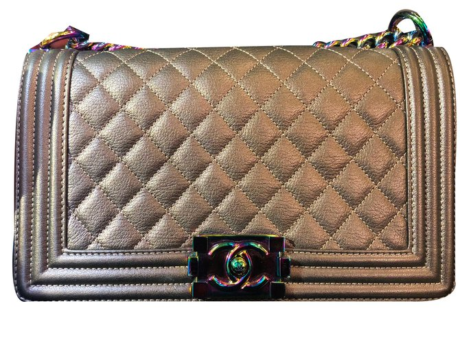 601310ce7ed9 Chanel Chanel Bronze Mermaid Boy bag in Old medium and Rainbow Hardware  Handbags Leather Bronze ref