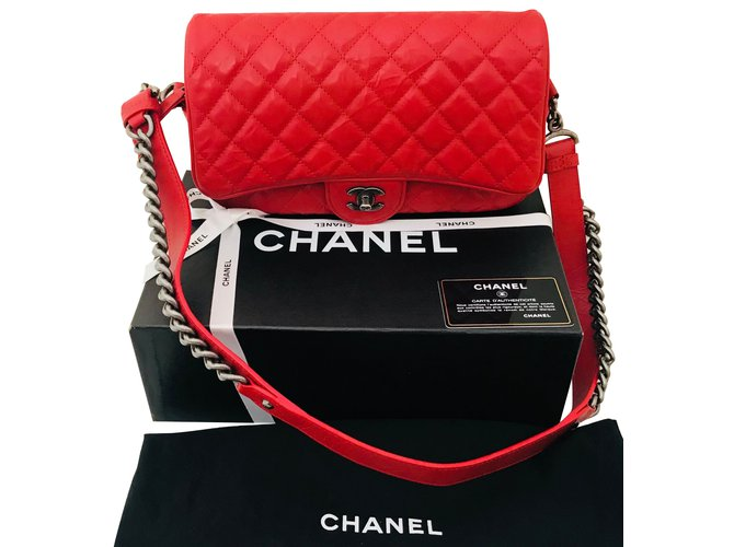 Chanel Handbags Handbags Leather Red ref.79690