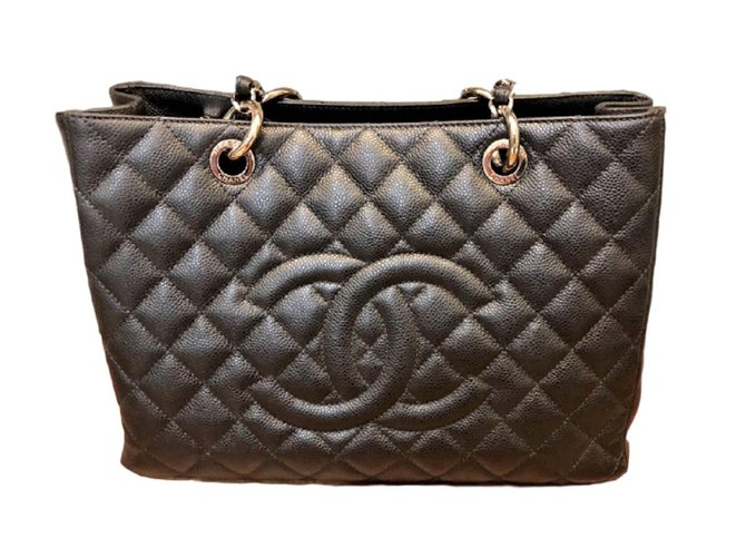dd04572f226e Chanel GST tote bag Black Caviar Leather Totes Leather Black ref.79754