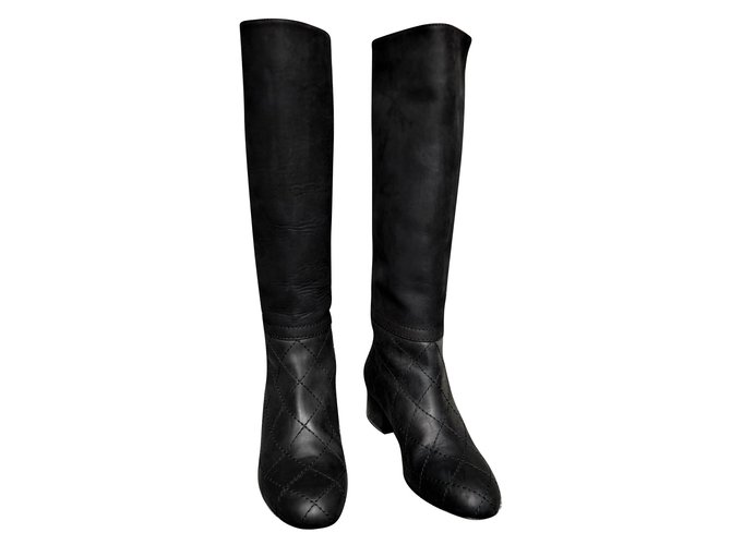 Chanel Chanel Black Knee High leather