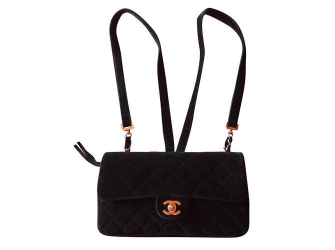Chanel Backpacks Backpacks Velvet Black ref.79795