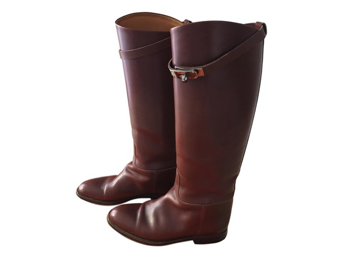 Hermès Jumping boots Boots Leather Caramel ref.79951