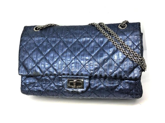 d897a848fc69f0 Chanel Chanel 2.55 stripped metallic navy blue reissue lined flap bag  Handbags Leather Blue ref.