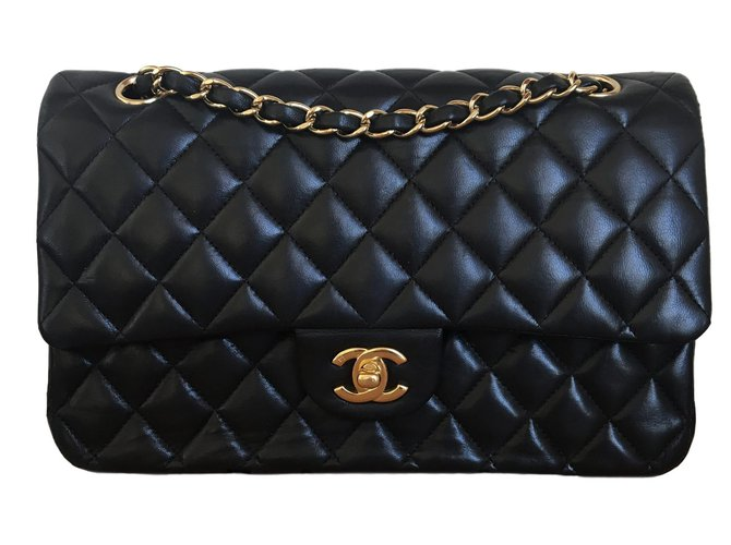 Sacs à main Chanel Medium Double-Flap Timeless Cuir Noir ref.80104