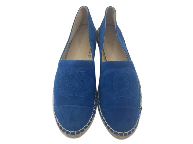 Espadrilles Chanel Espadrilles Daim Bleu ref.80155