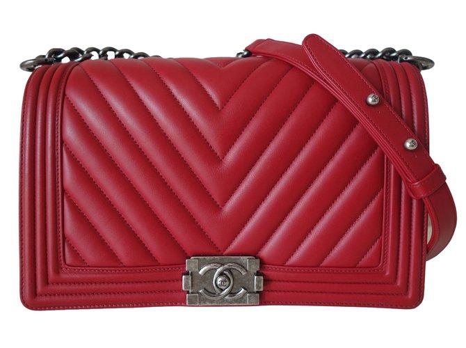 9cafd22463499c Chanel BOY CHEVRON Handbags Leather Red ref.80198 - Joli Closet