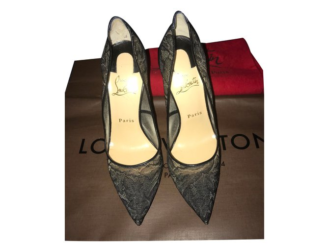 101be15132 Christian Louboutin Pigalle follies lace Heels Leather Black ref.80229
