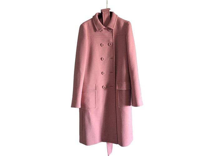 Bottega Veneta Mantel Winterjacke, Mäntel Wolle Pink ref.80451