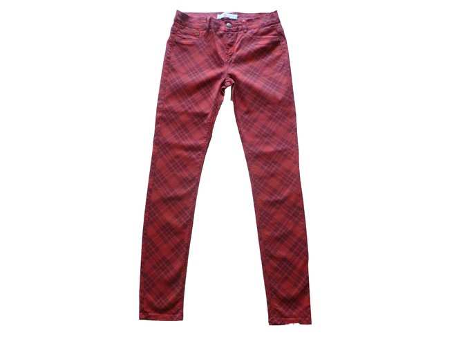 ba64ff58 Zara cotton trousers Pants, leggings Cotton Red ref.80488 - Joli Closet