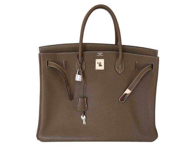 Hermès Birkin 40 etoupe Handtaschen Leder Beige ref.80545